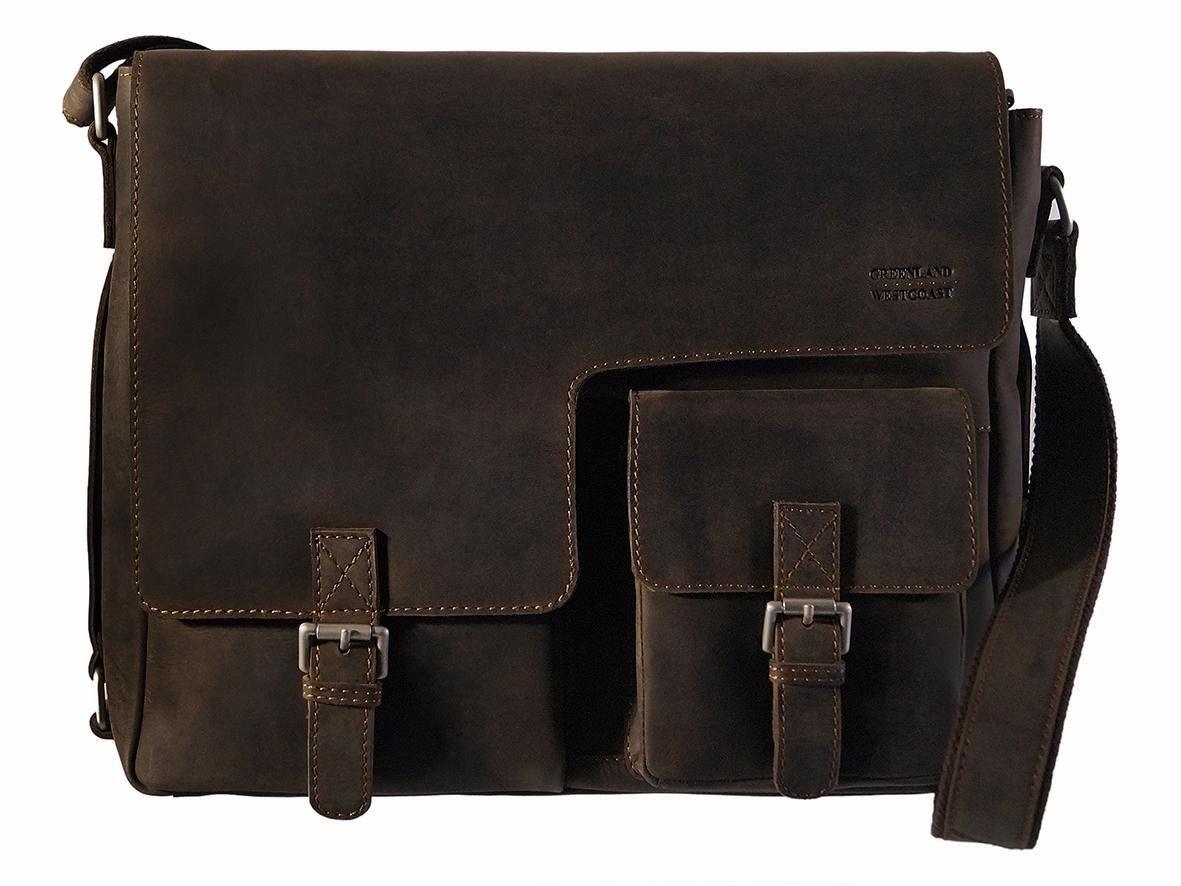 GreenLand Nature Messenger Bag, aus Leder mit praktischen Vortaschen