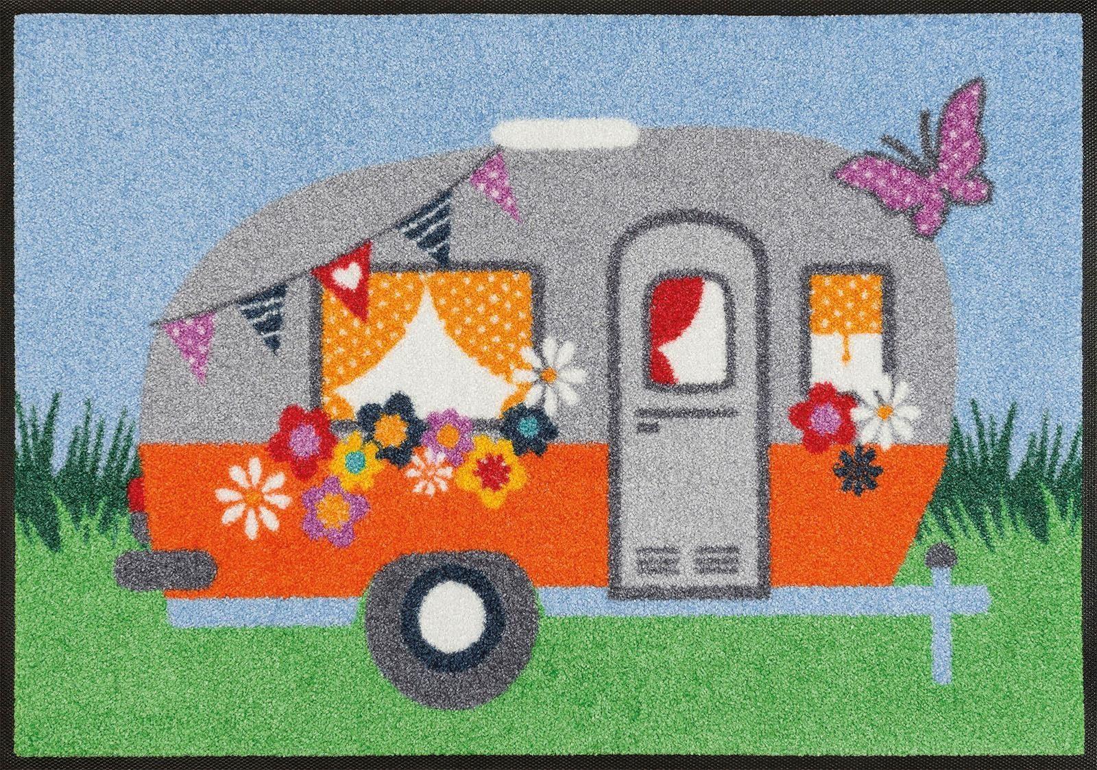 Fußmatte »Happy Camping«, wash+dry by Kleen-Tex, rechteckig, Höhe 7 mm
