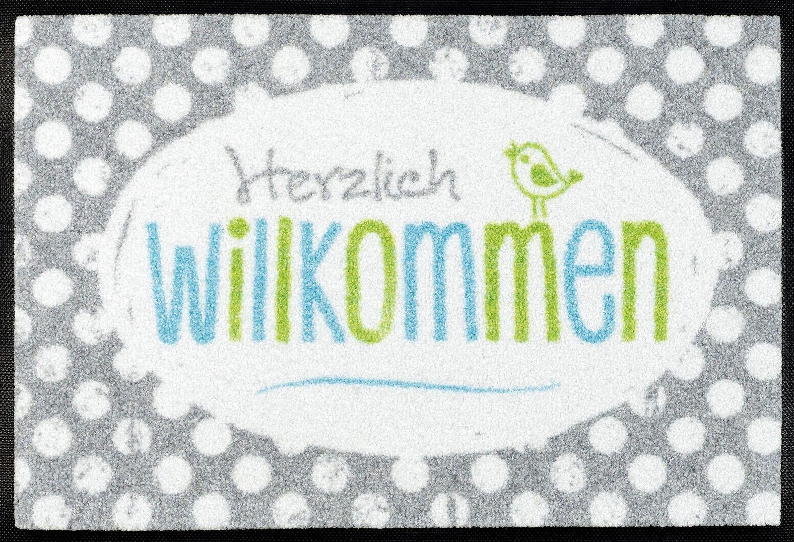 Fußmatte »Happy Willkommen«, wash+dry by Kleen-Tex, rechteckig, Höhe 7 mm | Heimtextilien > Fussmatten | wash+dry by Kleen-Tex