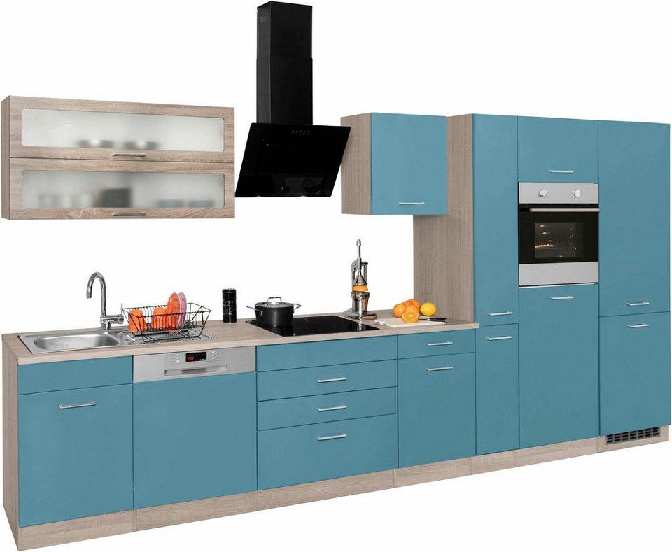 HELD MÖBEL Küchenzeile mit E-Geräten und großer Kühl ...