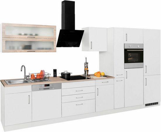 HELD MÖBEL Küchenzeile »Utah«, mit E-Geräten und großer Kühl- Gefrierkombination, Breite 390 cm