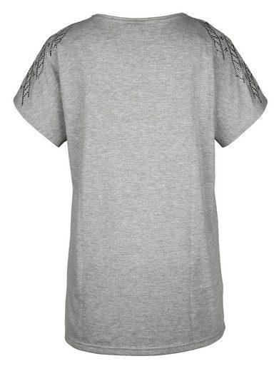MIAMODA Longshirt mit Dekosteinen an den Ärmeln