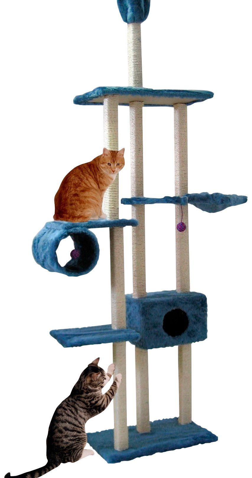 CAT DREAM Kratzbaum-Deckenspanner »Family«, B/T/H: 122/40/230-260 cm, blau