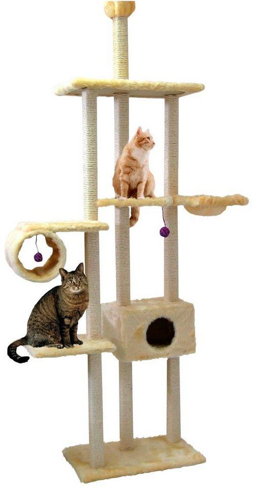 CAT DREAM Kratzbaum-Deckenspanner »Family«, B/T/H: 122/40/230-260 cm, beige - Preisvergleich