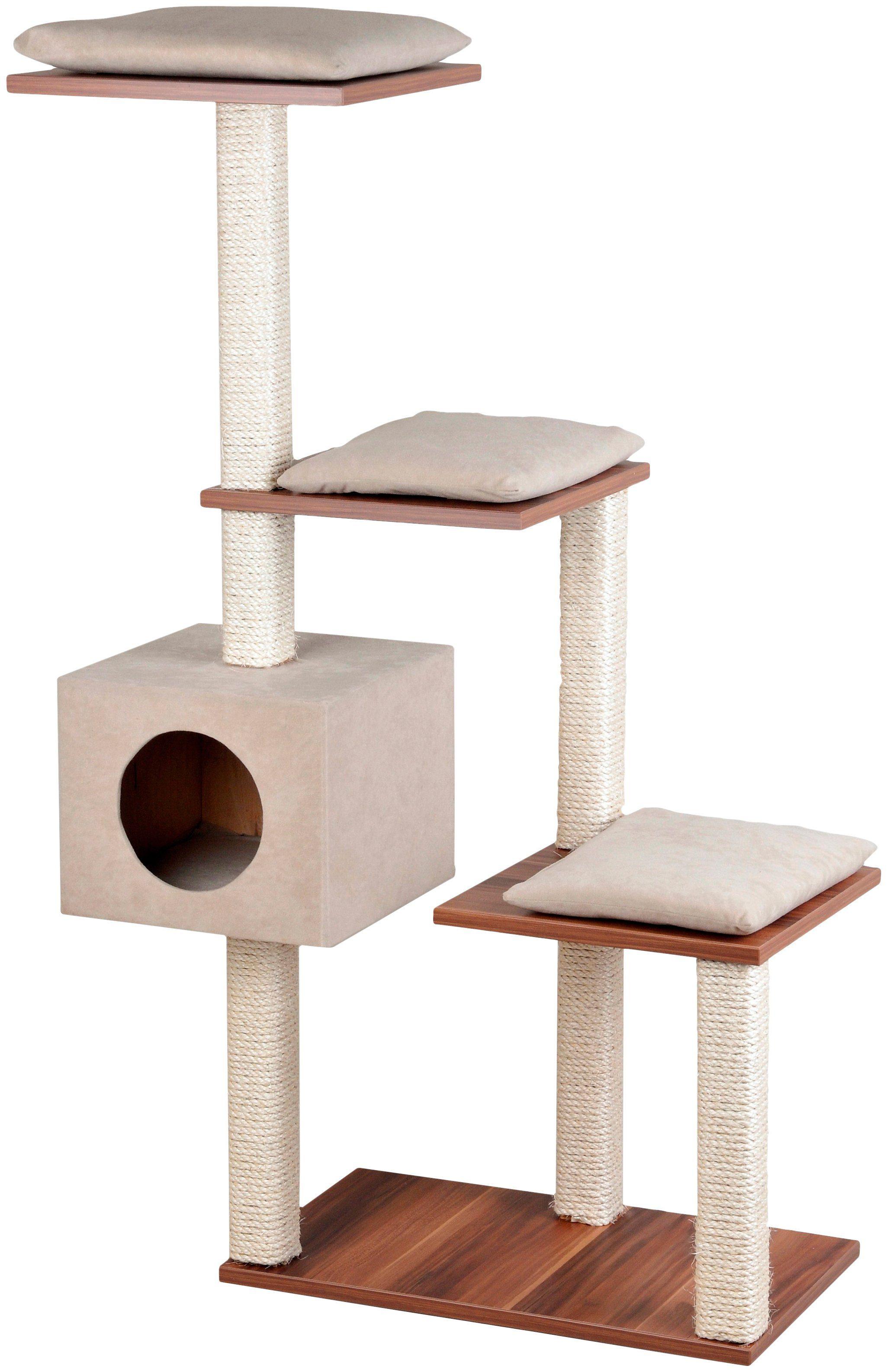 SILVIO DESIGN Kratzbaum »Stufenboy Cosy«, B/T/H: 80/36/126 cm, walnussdekor/sandfarben