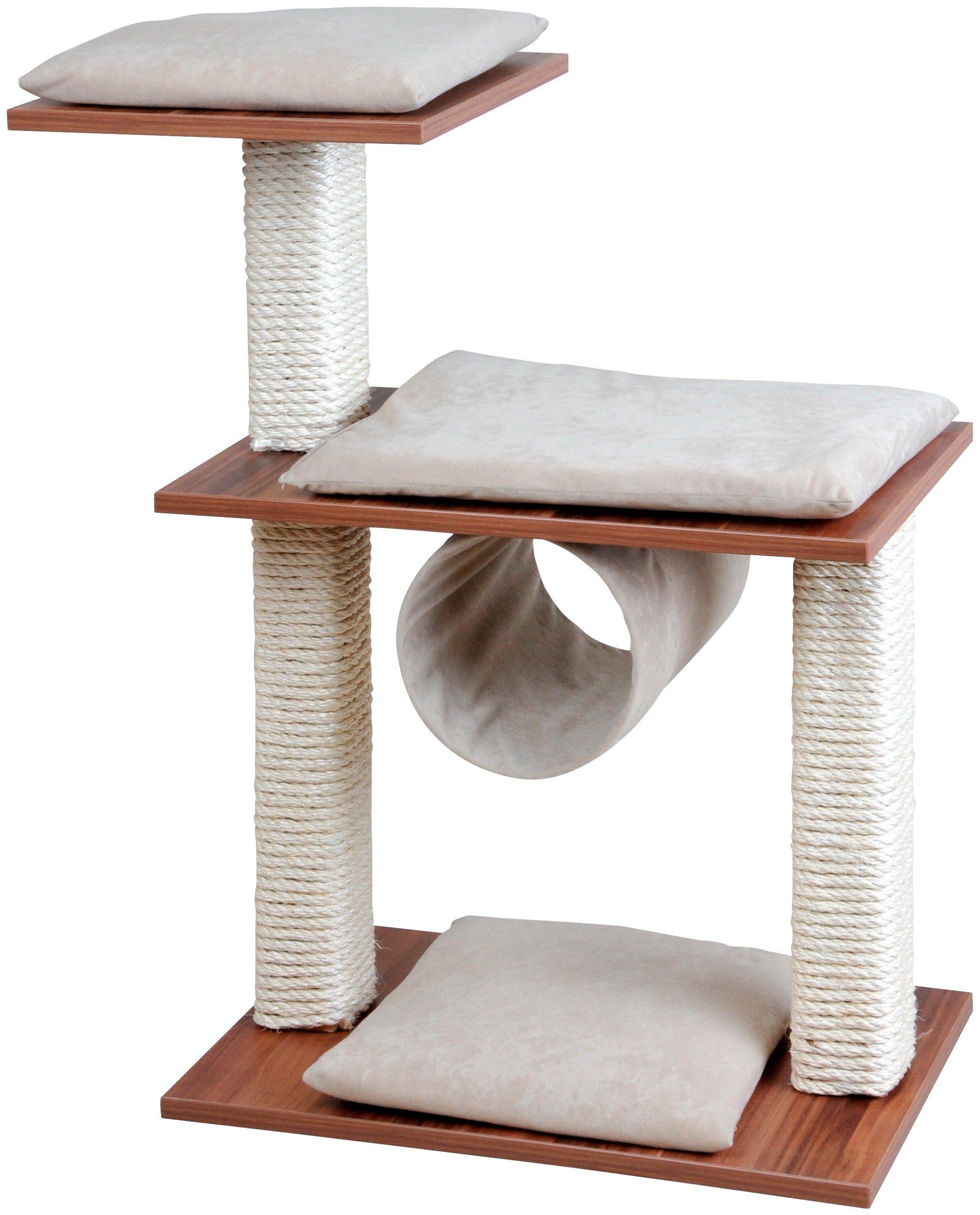 SILVIO DESIGN Kratzbaum »Cosy«, B/T/H: 80/36/86 cm, walnussdekor/sandfarben