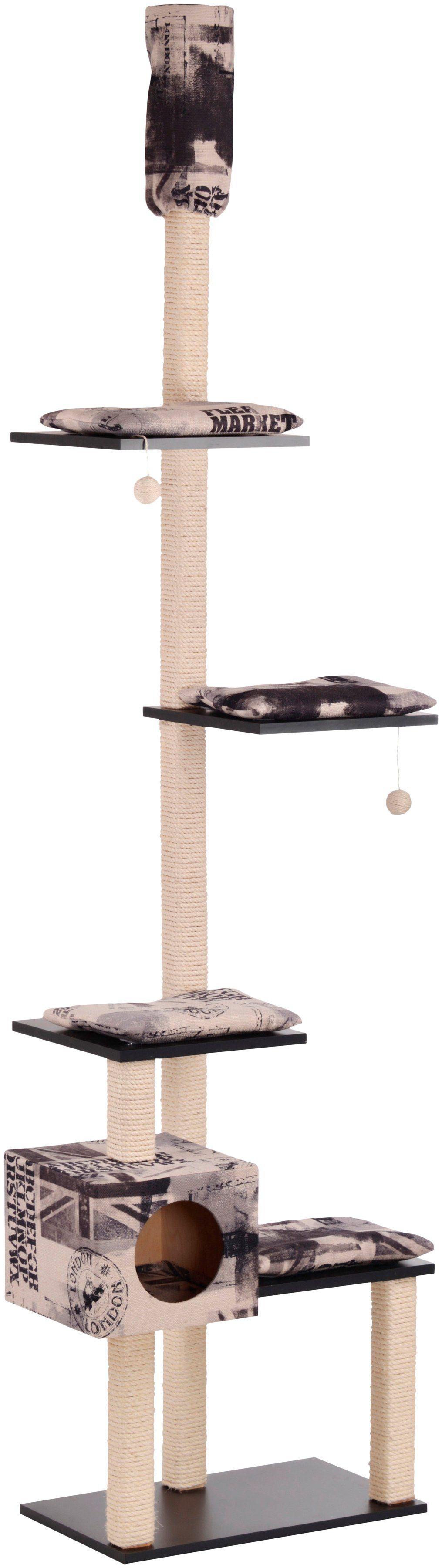 SILVIO DESIGN Kratzbaum-Deckenspanner »Celly«, B/T/H: 73/47/230-260 cm, beige/schwarz Shabby-Look