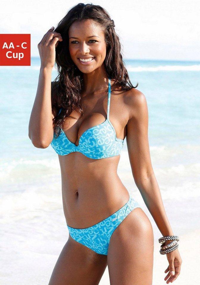 Bademode - Venice Beach Push Up Bikini Top »Karibik«, mit stylischem Alloverprint › blau  - Onlineshop OTTO