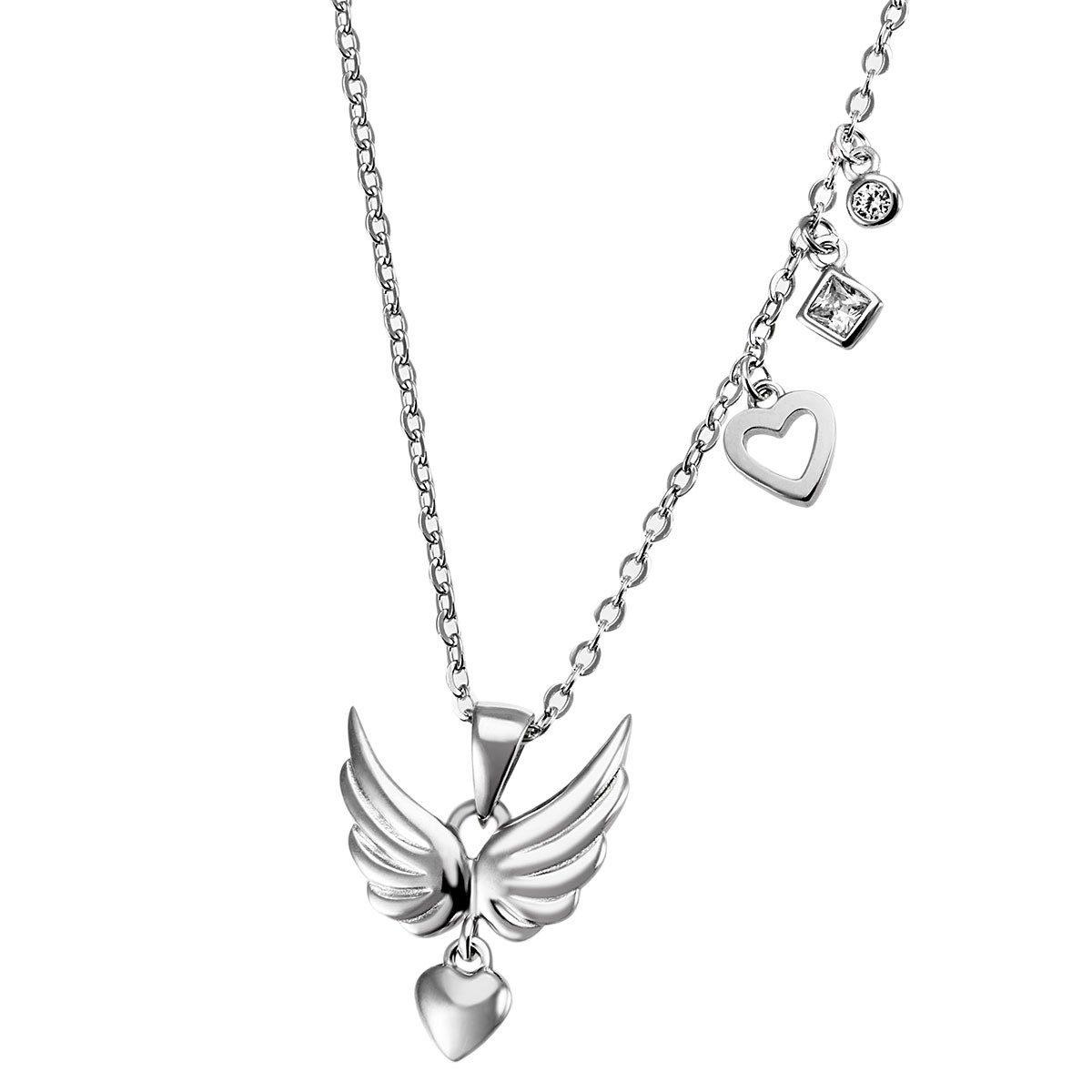 goldmaid Flügelanhänger mit Kette 925/- Silber 2 Zirkonia