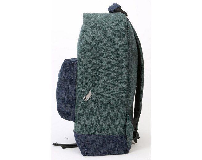 mi pac. Rucksack mit Laptopfach, Heavyweight Premium Herringbone Mix, green/navy
