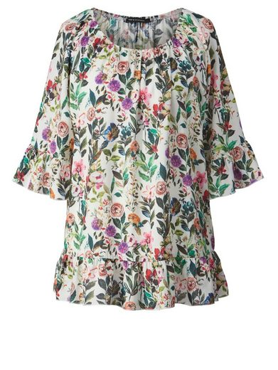 Sara Lindholm by Happy Size Bluse mit Allover-Print und Volants