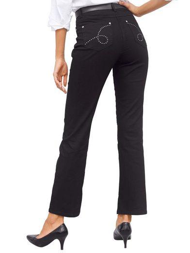 Laura Kent Jeans mit Stickerei- und Strassdekoration