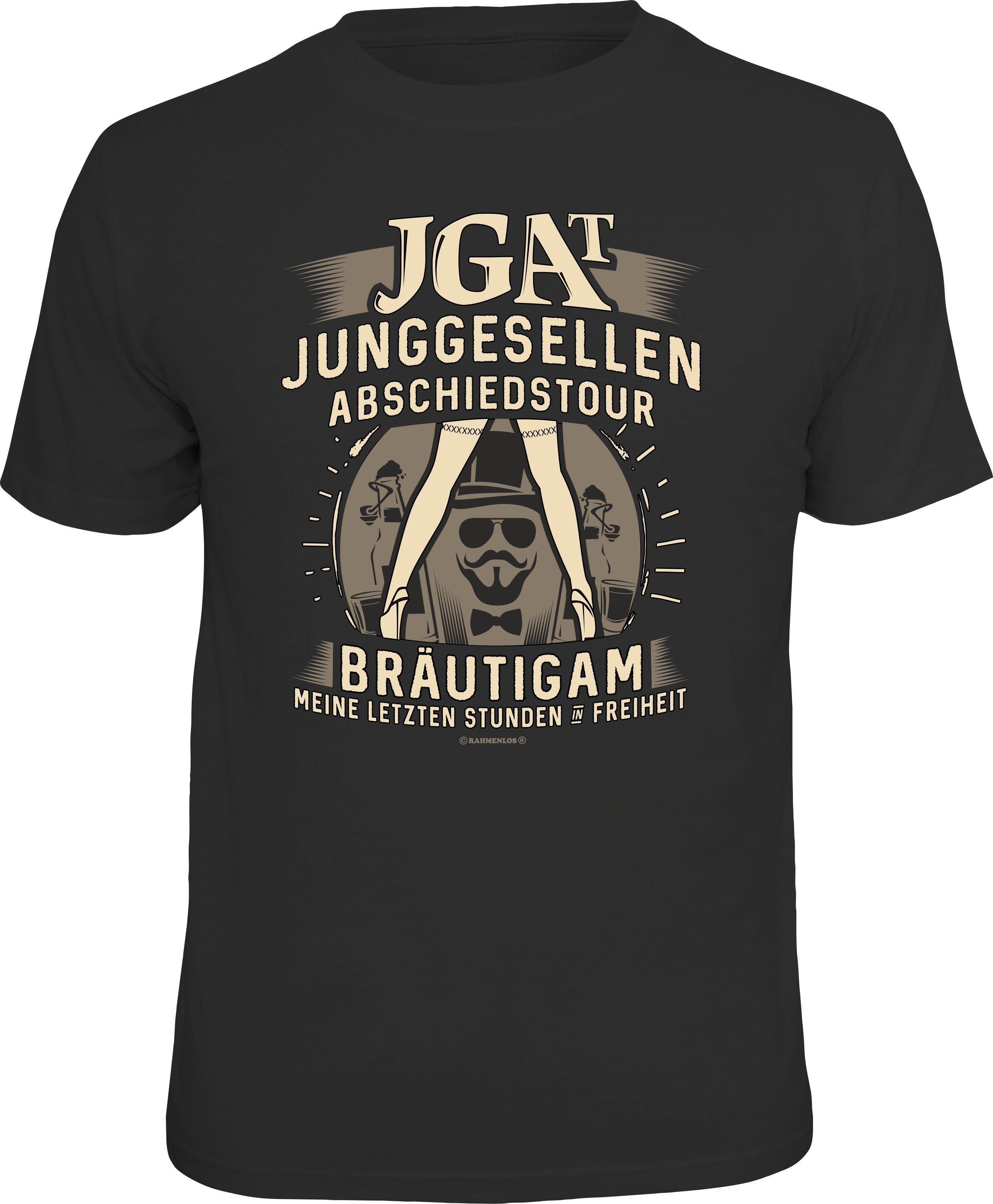Herren Rahmenlos T-Shirt mit Frontprint Jungesellen Abschiedstour Team schwarz   04052743134906