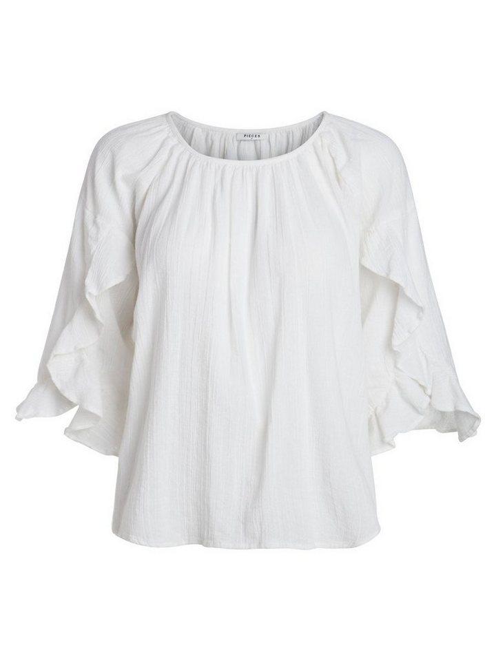 Damen Pieces 3 4-ärmelige Bluse weiß   05713723712987