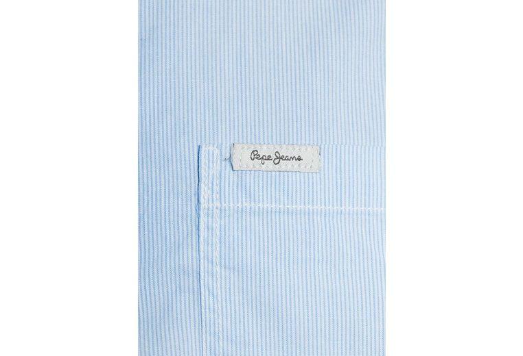 Pepe Jeans Hemd BAEL, Stoffeinsätze an der Saumenseite, Labelpatches an der Brusttasche und an der Manschette