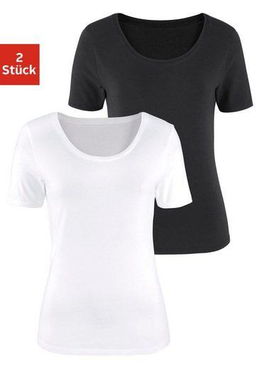 Vivance T-Shirts (2 Stück) aus Baumwoll-Stretch