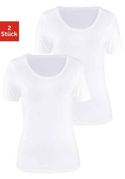 eef22ab4f484c2 Vivance Kurzarmshirt (2er-Pack) aus elastischer Baumwoll-Qualität