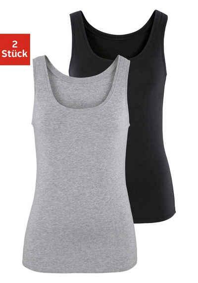 Vivance Tanktop (2er-Pack) aus elastischer Baumwoll-Qualität