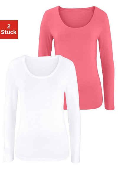 e72a27536649b Vivance Langarmshirt (2er-Pack) aus elastischer Baumwoll-Qualität