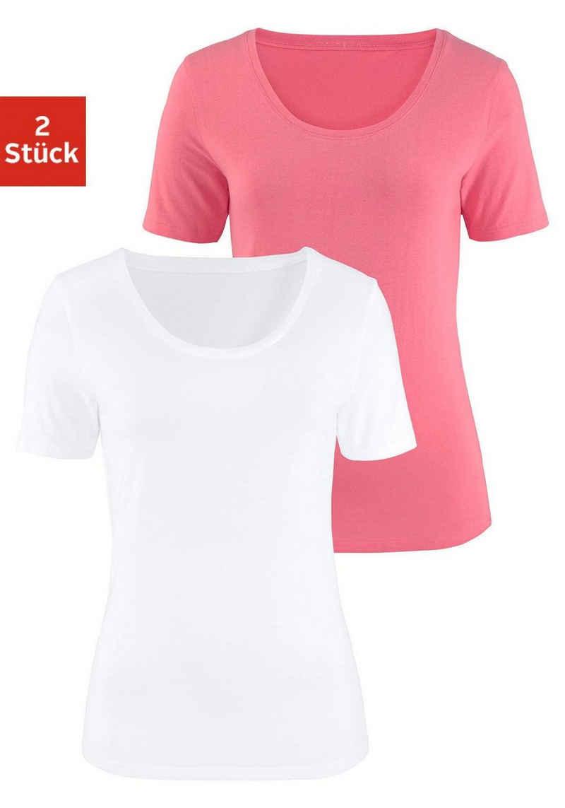 Vivance Kurzarmshirt (2er-Pack) aus elastischer Baumwoll-Qualität