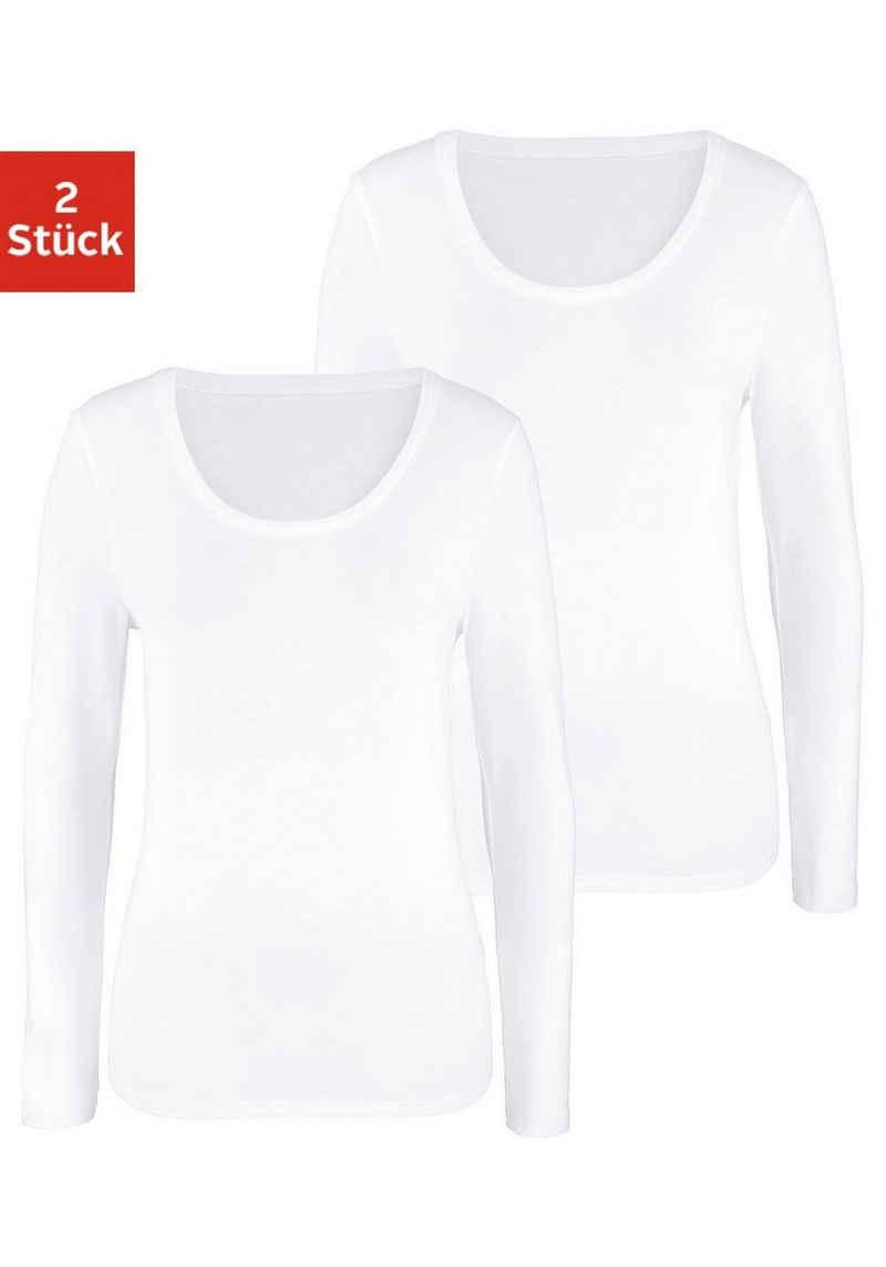 Vivance Langarmshirt (2er-Pack) aus elastischer Baumwoll-Qualität