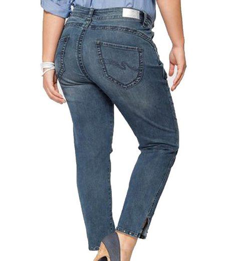 PURPLE LILY Regular-fit-Jeans »PURPLE LILY Lilie Stretch-Jeans modische Damen Cropped Skinny Hose 5-Pocket Jeans Blau«