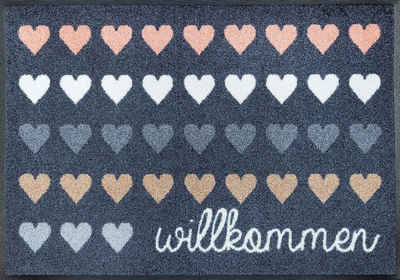 Fußmatte »Willkommen Herzen«, wash+dry by Kleen-Tex, rechteckig, Höhe 7 mm, Schmutzfangmatte, mit Spruch