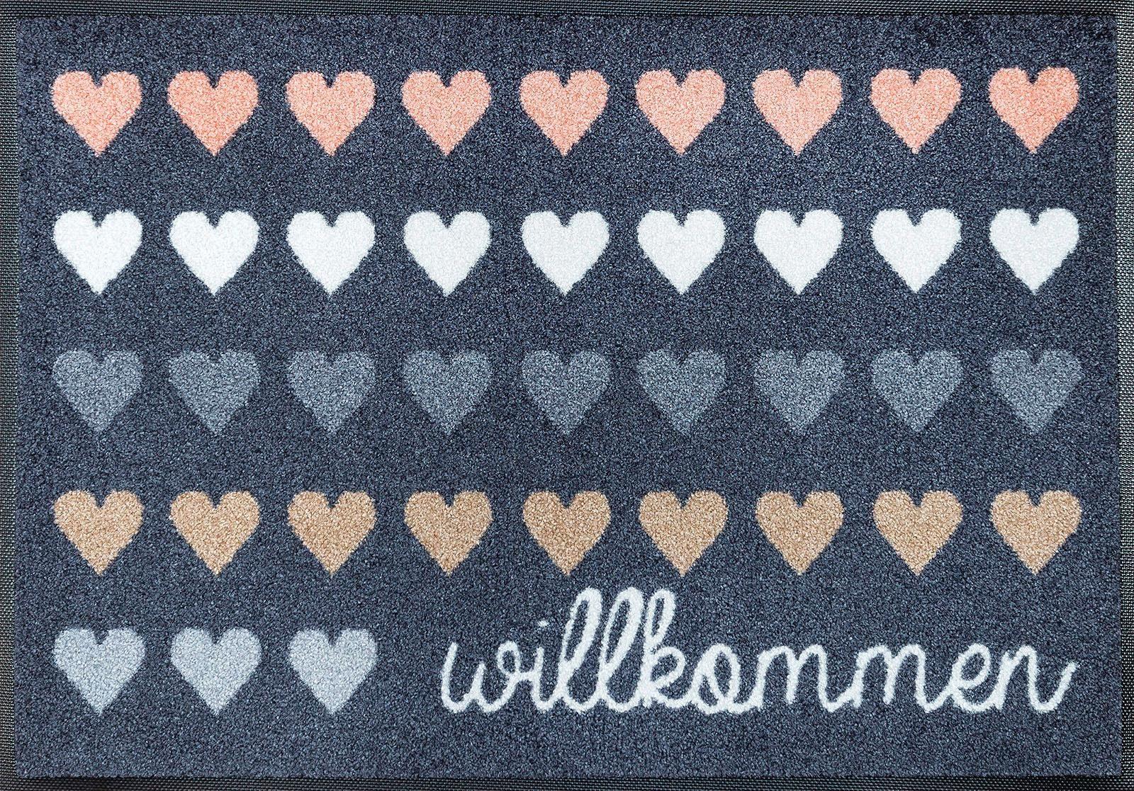 Fußmatte »Willkommen Herzen«, wash+dry by Kleen-Tex, rechteckig, Höhe 7 mm