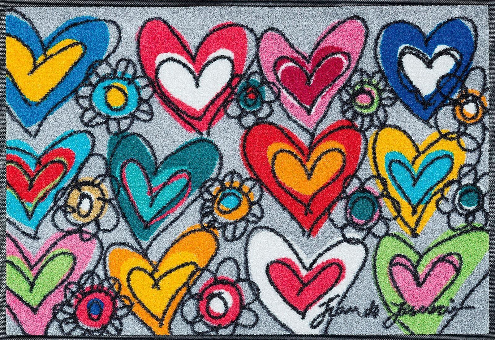 Fußmatte »With Love«, wash+dry by Kleen-Tex, rechteckig, Höhe 7 mm