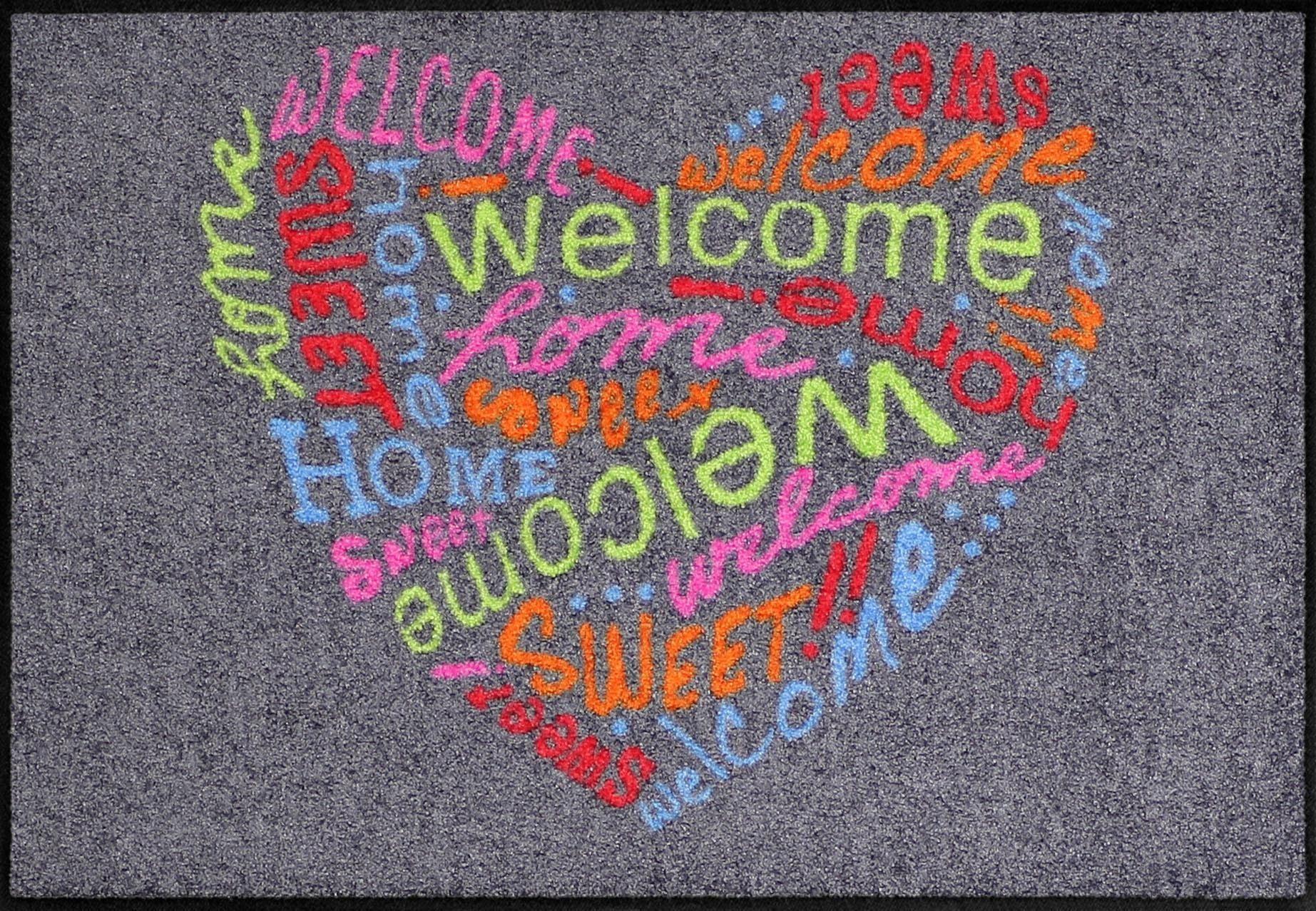 Fußmatte »Herz Willkommen«, Salonloewe, rechteckig, Höhe 6 mm