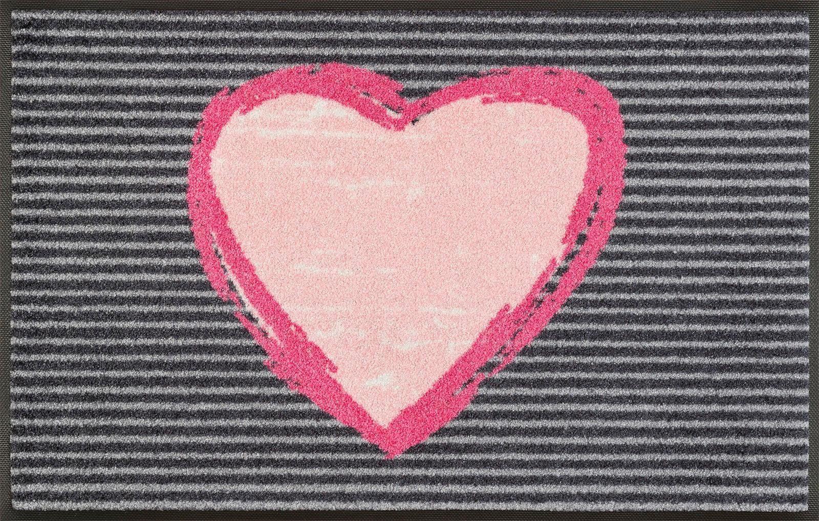 Fußmatte »Rose Heart«, wash+dry by Kleen-Tex, rechteckig, Höhe 7 mm