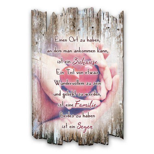 Kreative Feder Holzbild, Herz (1 Stück), mit Spruch & Motiv, Shabby Style, aus Holz, 30x20cm, Zuhause Familie Segen, Liebe, HDS036