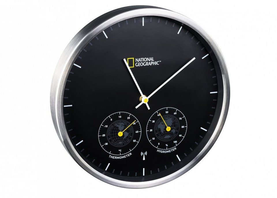 bresser wanduhr national geographic uhr mit thermometer hygrometer online kaufen otto. Black Bedroom Furniture Sets. Home Design Ideas