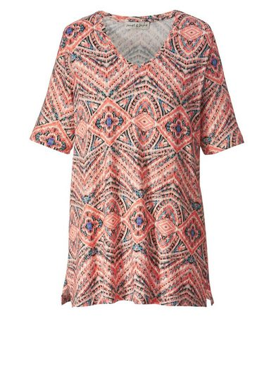 Janet und Joyce by Happy Size Shirt mit Ethno-Print