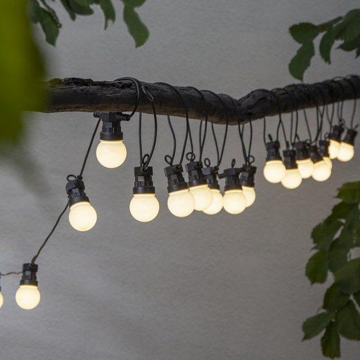 STAR TRADING LED-Lichterkette »LED Lichterkette CIRCUS opal - 20 kleine Kugeln - warmweiße LED - 8,8m - inkl.Trafo - outdoor«, 20-flammig
