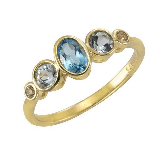 Vivance Ring »375/- Gelbgold mit Blautopas/Weißtopas«