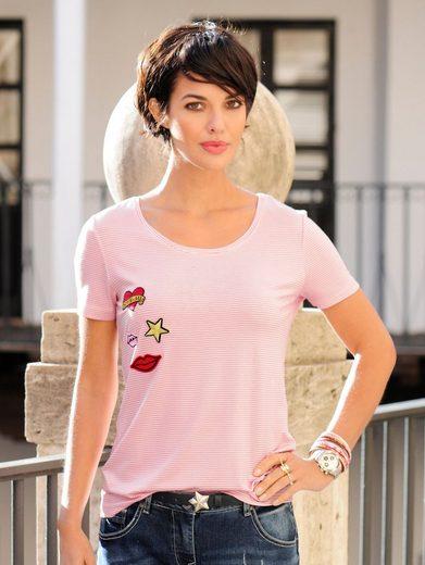 Alba Moda Ringelshirt mit modischen Applikationen