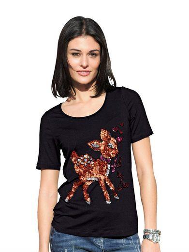 Alba Moda T-Shirt mit Rehmotiv und Pailletten