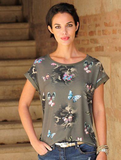 Alba Moda Rundhalsshirt mit Schmetterlingsmotiven