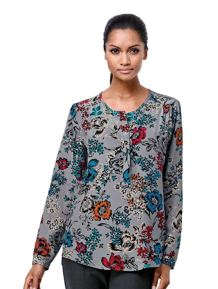 Damen Alba Moda  Tunika in edler Seiden-Qualiät mit floralem Print grau | 04055715375383