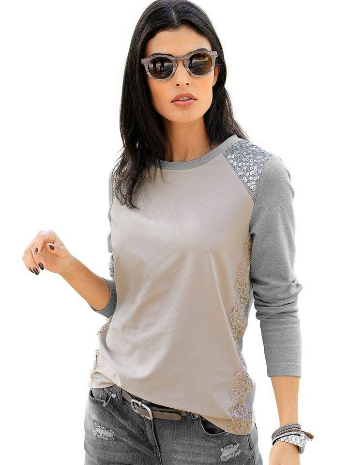 Damen Alba Moda  Sweatshirt im Materialmix  | 08698033301663