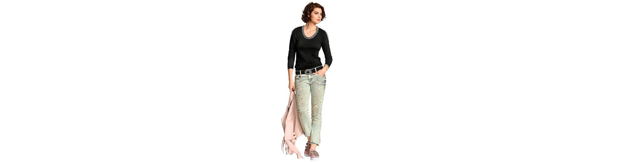 2018 Günstiger Preis Freies Verschiffen 2018 Neue Alba Moda 5-Pocket-Jeans mit Zierperlen und Strasssteinchen Verkauf Zum Verkauf Av07iwL
