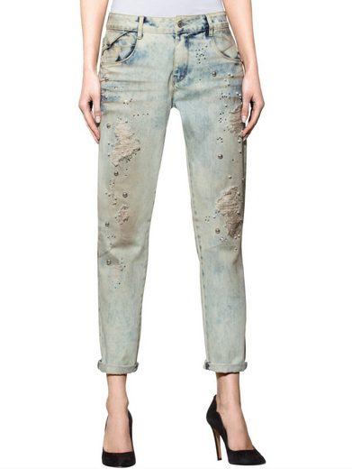 Alba Moda 5-Pocket-Jeans mit Zierperlen und Strasssteinchen