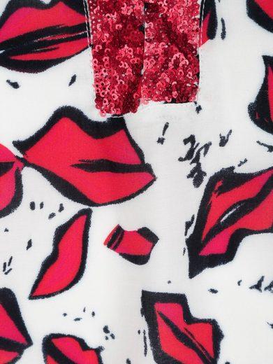 Alba Moda Druckbluse mit Kussmund-Druck allover