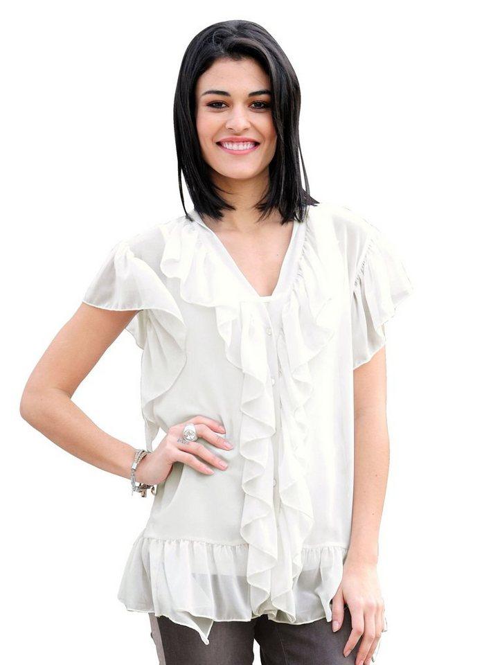 Damen Alba Moda  Volant-Bluse mit Jerseytop weiß | 04055715111585