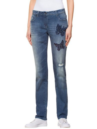 Alba Moda Jeans mit Schmetterling-Patches