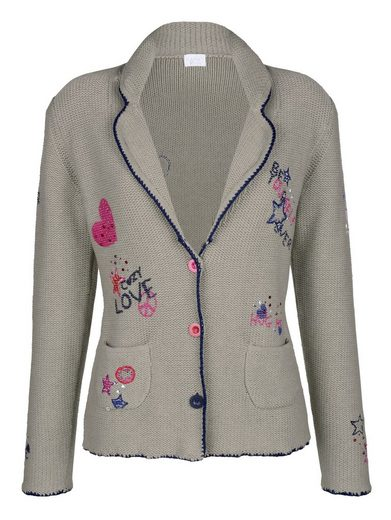 Alba Moda Strickblazer mit Applikationen