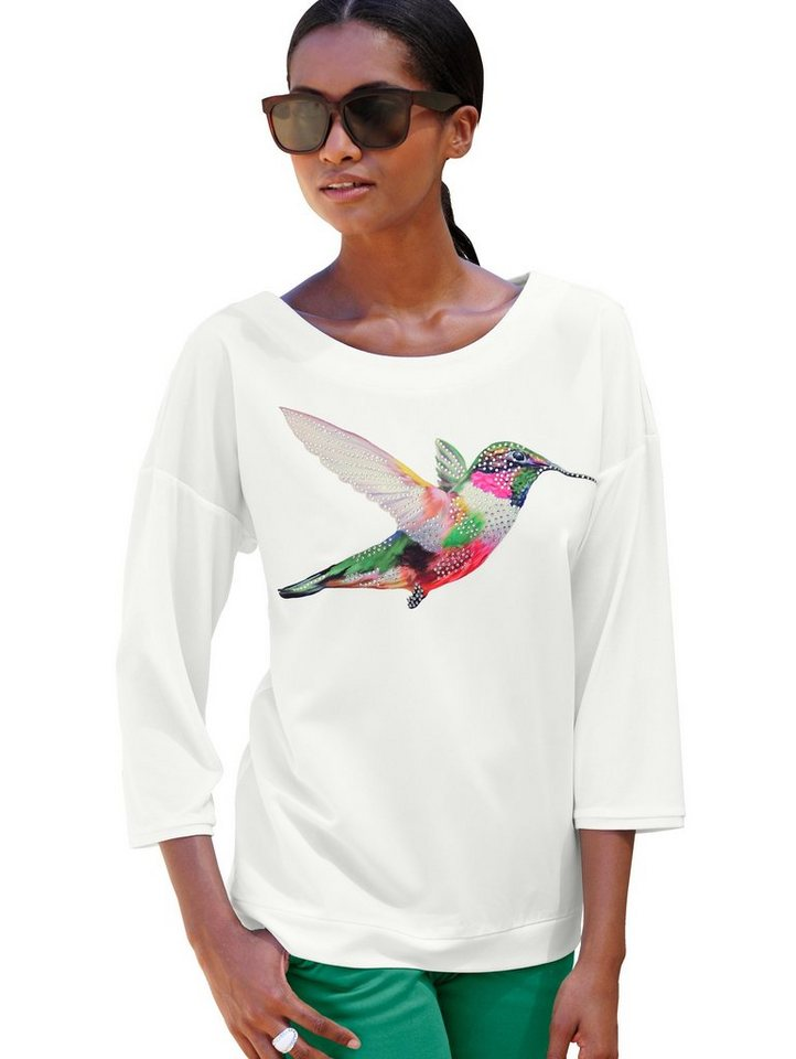 Alba Moda Strandshirt Shirt mit Kolibridruck