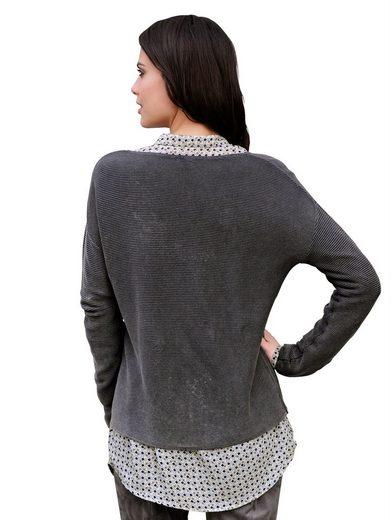 Alba Moda Pullover aus quergestricktem Rippenstrick