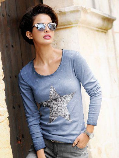 Alba Moda Langarmshirt mit Sternapplikation aus Pailetten